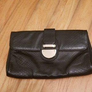 Black Cole Haan Snake Print Leather Clutch
